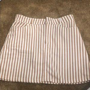 Forever 21 Brown/White Stripes Mini Skirt